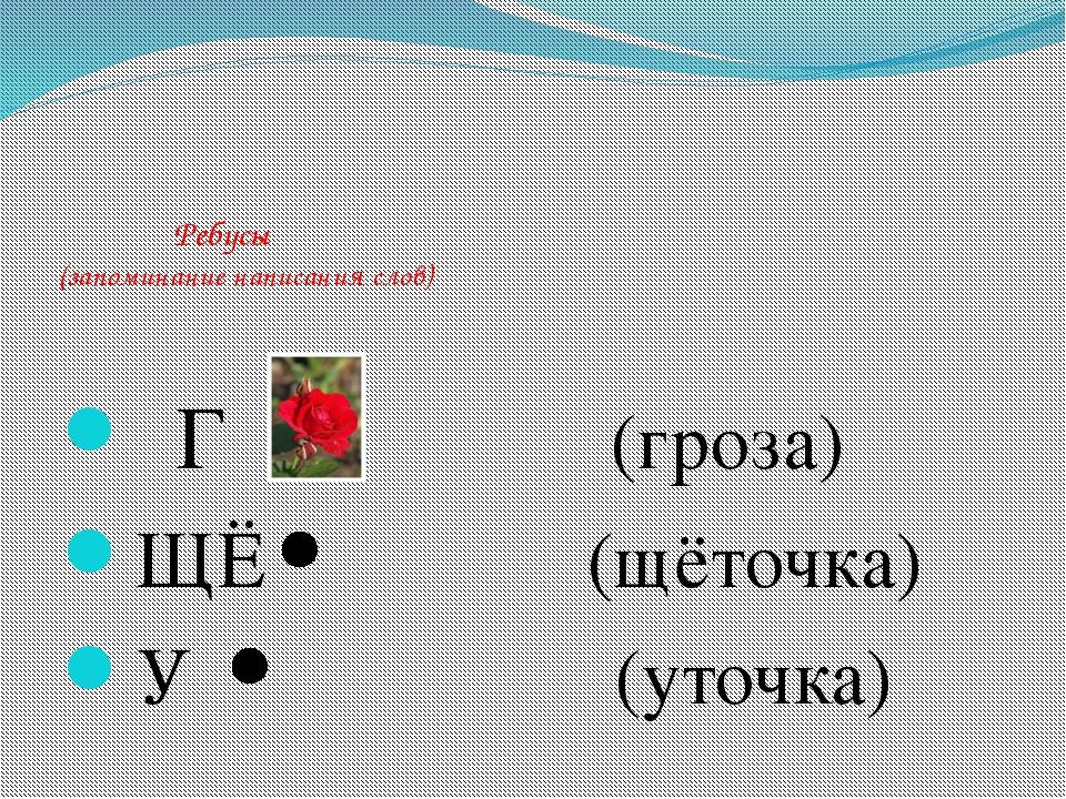 Ребусы (запоминание написания слов) Г (гроза) ЩЁ (щёточка) У (уточка)
