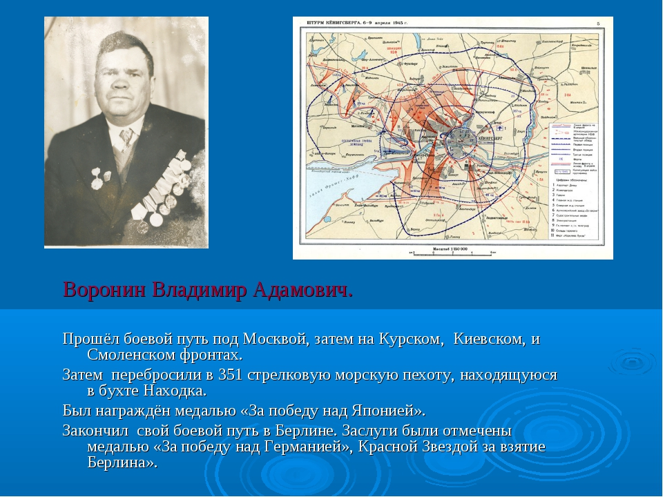 Воронин Владимир Адамович. Прошёл боевой путь под Москвой, затем на Курском,...