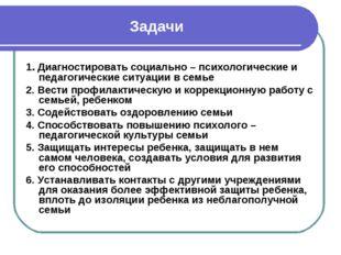 Задачи 1. Диагностировать социально – психологические и педагогические ситуац