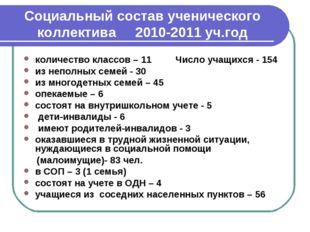 Социальный состав ученического коллектива 2010-2011 уч.год количество классов