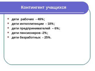 Контингент учащихся дети рабочих - 49%; дети интеллигенции - 18%; дети предпр