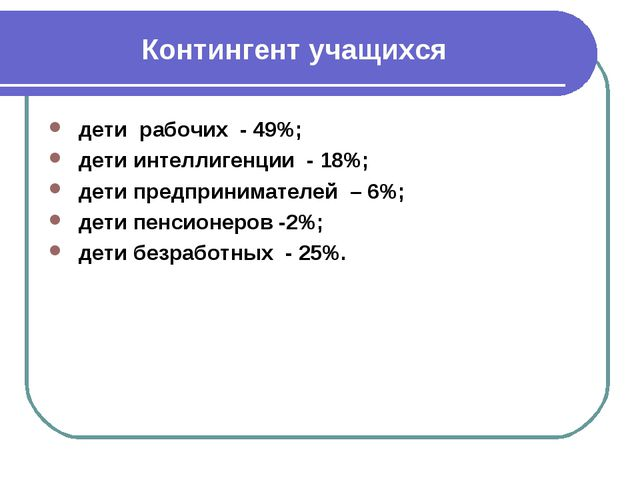 Контингент учащихся дети рабочих - 49%; дети интеллигенции - 18%; дети предпр...
