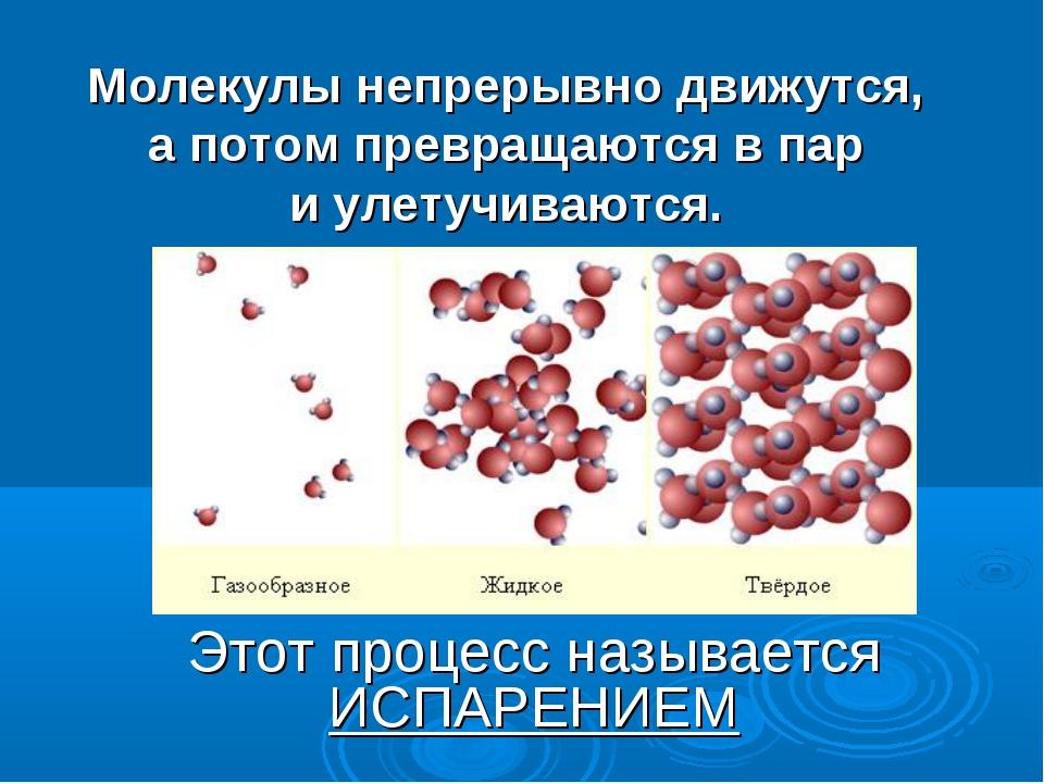 Молекулы непрерывно движутся, а потом превращаются в пар и улетучиваются. Это...
