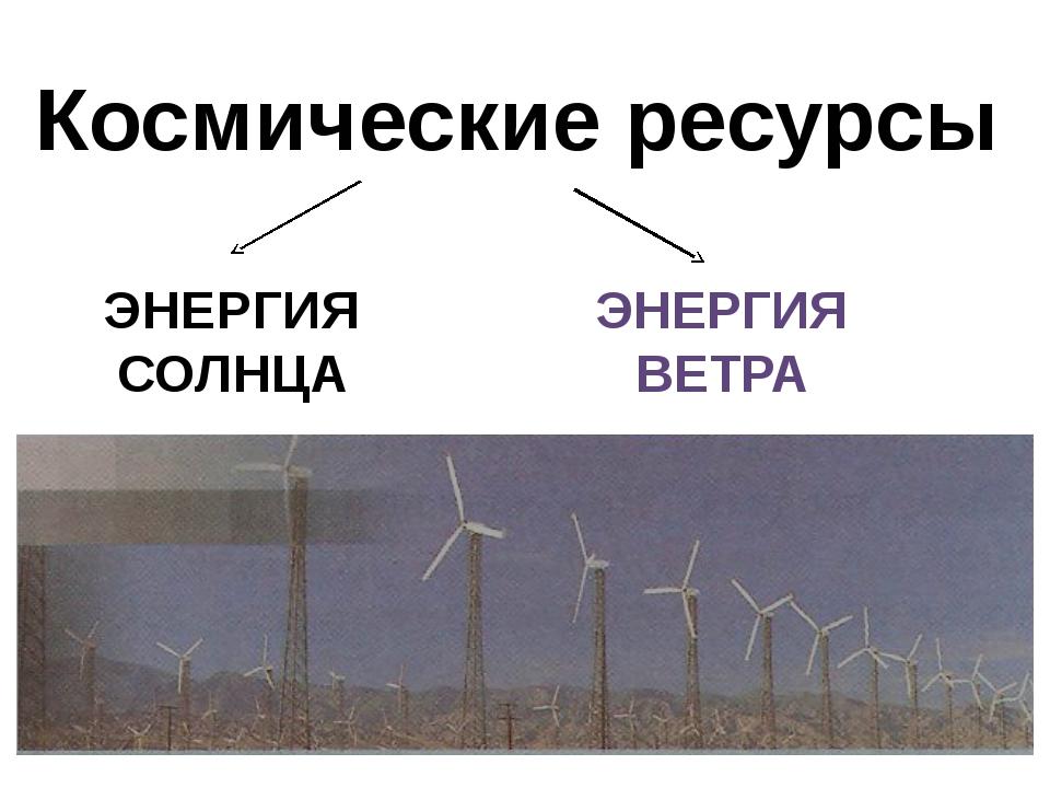 Космические ресурсы ЭНЕРГИЯ СОЛНЦА ЭНЕРГИЯ ВЕТРА