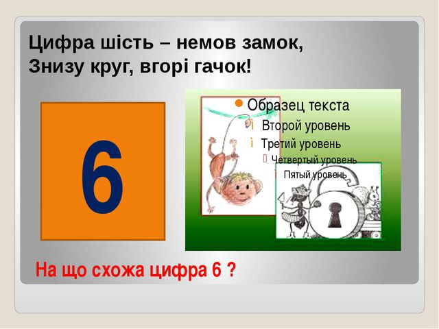 На що схожа цифра 6 ? Цифра шість – немов замок, Знизу круг, вгорі гачок! 6
