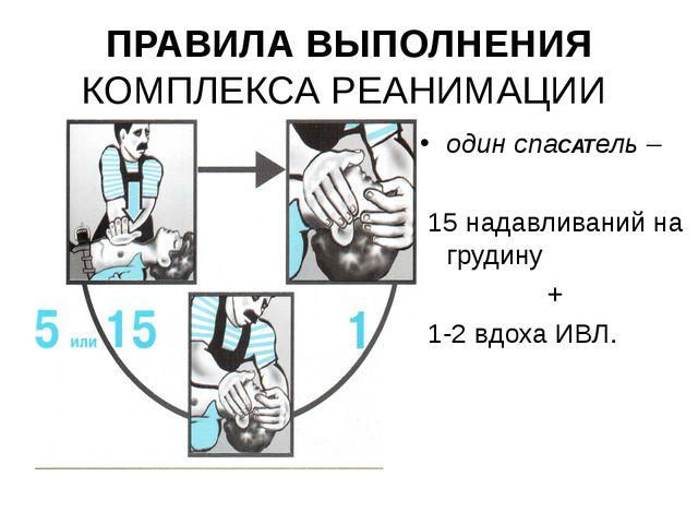 ПРАВИЛА ВЫПОЛНЕНИЯ КОМПЛЕКСА РЕАНИМАЦИИ один спаСАТель – 15 надавливаний на г...