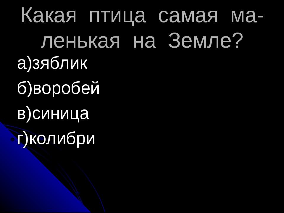 Какая птица самая ма-ленькая на Земле? а)зяблик б)воробей в)синица г)колибри