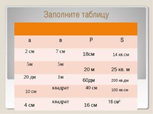 Заполните таблицу 18см 14 кв.см 20 м 25 кв. м 60дм 200 кв.дм 10 см 100 кв.см