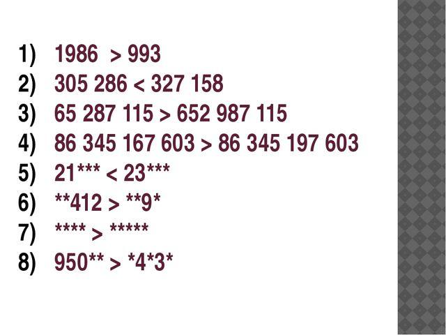 1986 > 993 305 286 < 327 158 65 287 115 > 652 987 115 86 345 167 603 > 86 345...