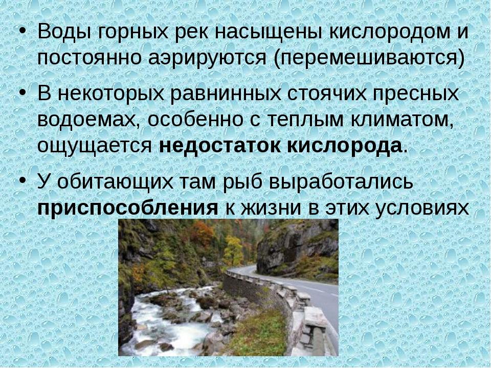 Воды горных рек насыщены кислородом и постоянно аэрируются (перемешиваются) В...