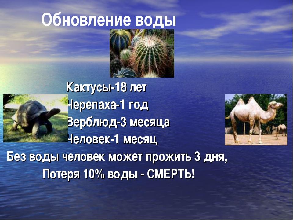 Обновление воды Кактусы-18 лет Черепаха-1 год Верблюд-3 месяца Человек-1 мес...