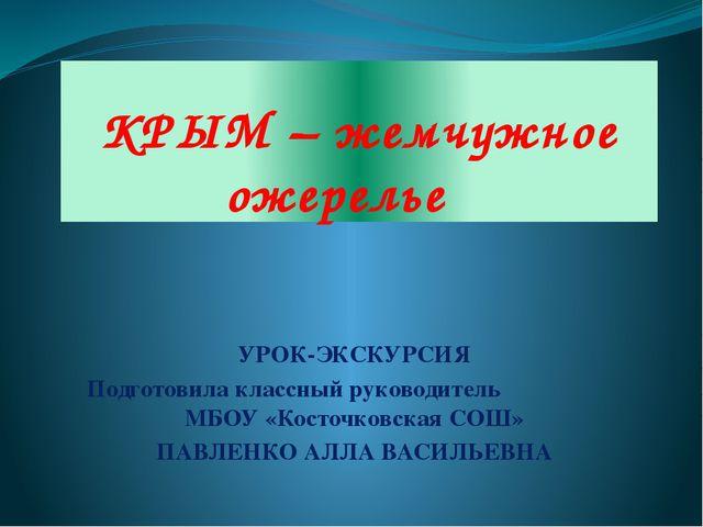 КРЫМ – жемчужное ожерелье УРОК-ЭКСКУРСИЯ Подготовила классный руководитель МБ...