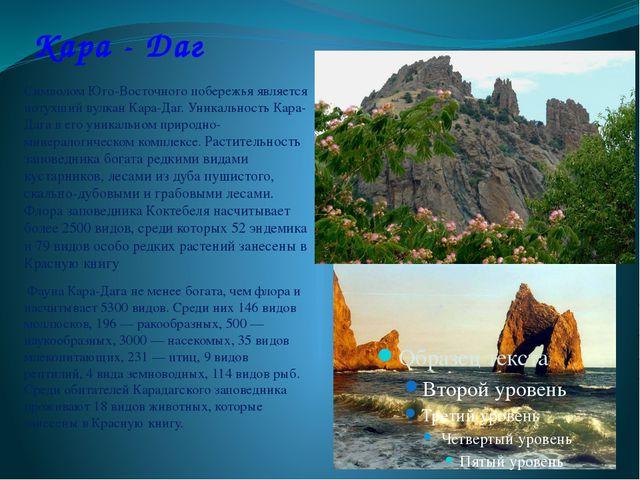 Кара - Даг Символом Юго-Восточного побережья является потухший вулкан Кара-Да...
