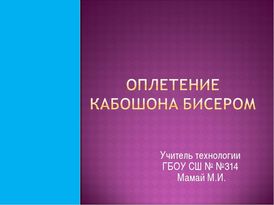 Учитель технологии ГБОУ СШ № №314 Мамай М.И.