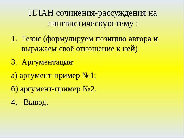 ПЛАН сочинения-рассуждения на лингвистическую тему : Тезис (формулируем позиц...