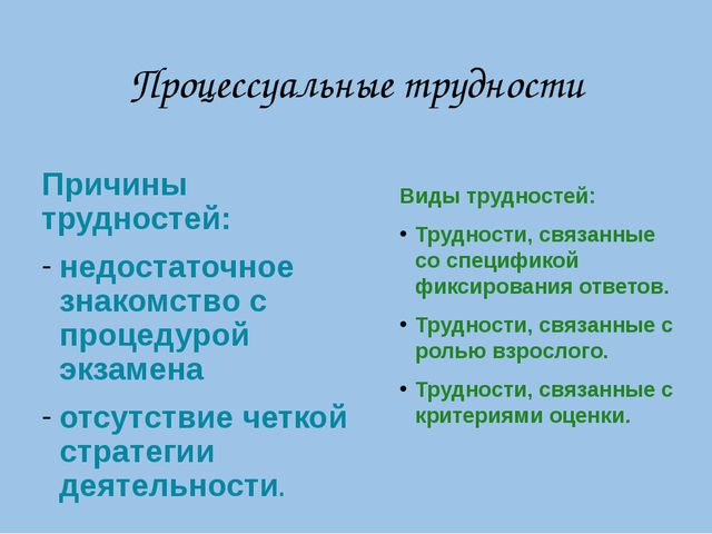 Процессуальные трудности Причины трудностей: недостаточное знакомство с проце...