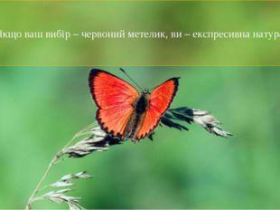 Якщо ваш вибір – червоний метелик, ви – експресивна натура.