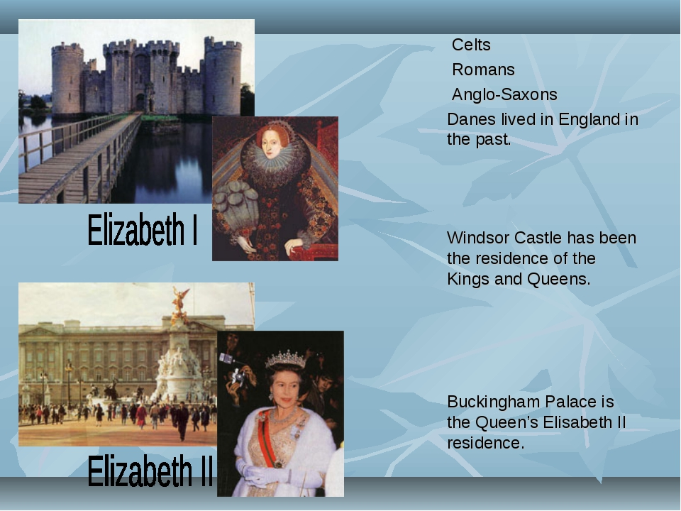 Celts Romans Anglo-Saxons Danes lived in England in the past. Windsor Castle...