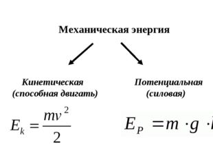 Механическая энергия Кинетическая (способная двигать) Потенциальная (силовая)