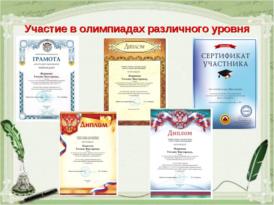 Участие в олимпиадах различного уровня