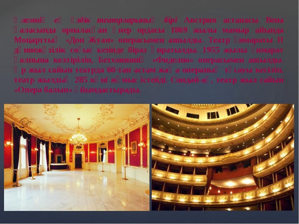 Әлемнің ең үздік театрларының бірі Австрия астанасы Вена қаласында орналасқан...