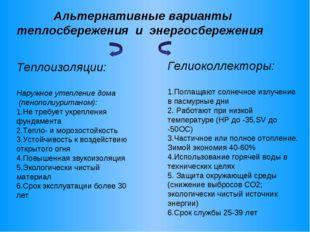 Альтернативные варианты теплосбережения и энергосбережения Теплоизоляции: На