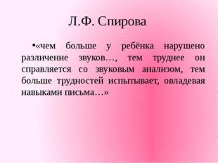 Л.Ф. Спирова «чем больше у ребёнка нарушено различение звуков…, тем труднее о