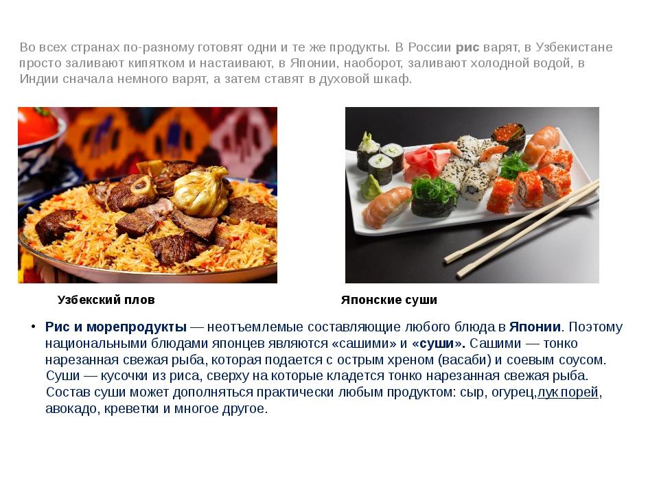 Узбекский плов Японские суши Рис и морепродукты —неотъемлемые составляющие л...