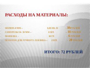 РАСХОДЫ НА МАТЕРИАЛЫ: ФАНЕРА 8 ММ – 0,06 КВ. М - 38РУБЛЕЙ САМОРЕЗЫ 16- 30 ММ