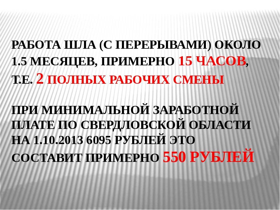 РАБОТА ШЛА (С ПЕРЕРЫВАМИ) ОКОЛО 1.5 МЕСЯЦЕВ, ПРИМЕРНО 15 ЧАСОВ, Т.Е. 2 ПОЛНЫХ...