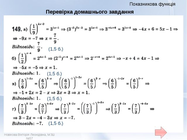 Показникова функція (1,5 б.) Поставте оцінку за роботу вдома. Новікова Віктор...