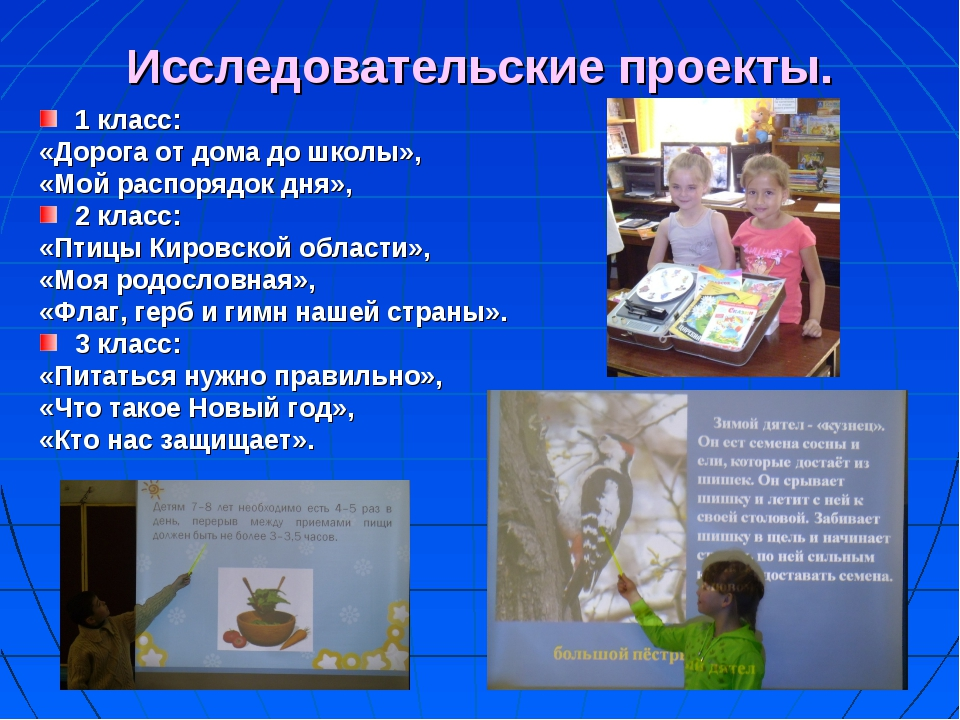 Исследовательские проекты. 1 класс: «Дорога от дома до школы», «Мой распоряд...