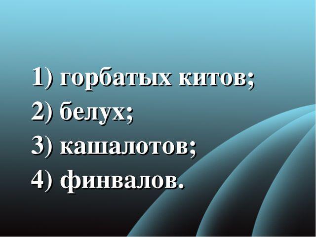 1) горбатых китов; 2)белух; 3) кашалотов; 4) финвалов.