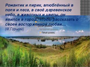 Романтик и лирик, влюблённый в поля и леса, в своё деревенское небо, в животн