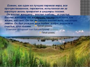 Есенин, как один из лучших лириков мира, все прочувствованное, пережитое, ис
