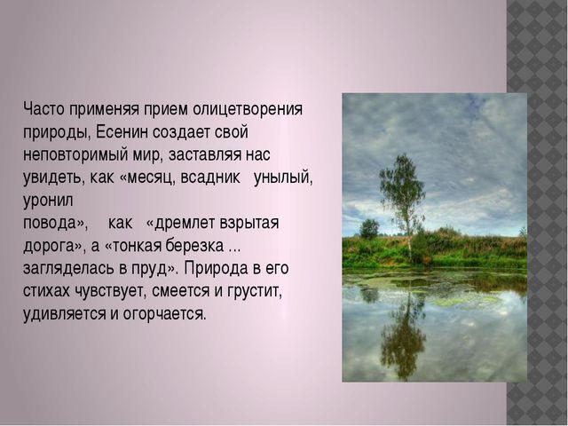 Часто применяя прием олицетворения природы, Есенин создает свой неповторимый...