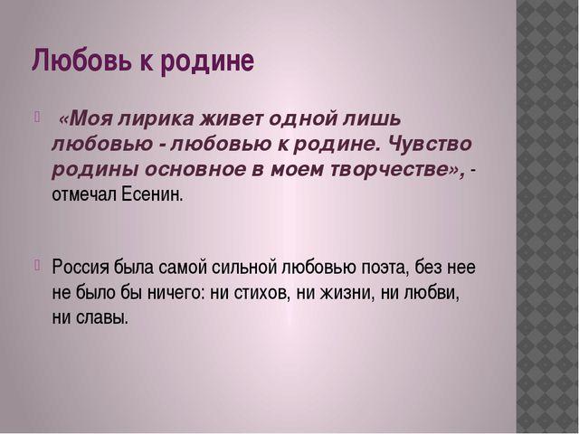 Любовь к родине «Моя лирика живет одной лишь любовью - любовью к родине. Чувс...