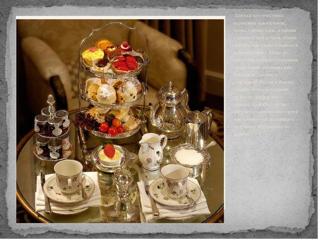 Для каждого участника церемонии ложится нож, пилка, чайные пары, а чайник с...