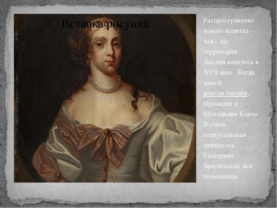 Распространение нового напитка – чая – на территории Англии началось в XVII в...