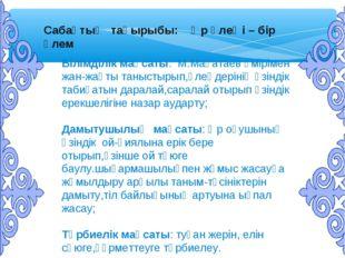 Сабақтың тақырыбы: Әр өлеңі – бір әлем Білімділік мақсаты: М.Мақатаев өміріме