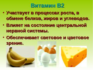 Витамин В2 Участвует в процессах роста, в обмене белков, жиров и углеводов. В