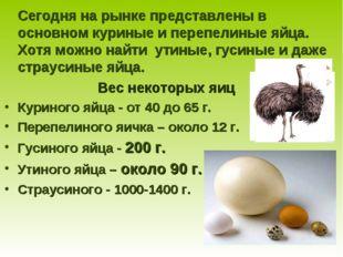 Сегодня на рынке представлены в основном куриные и перепелиные яйца. Хотя мо