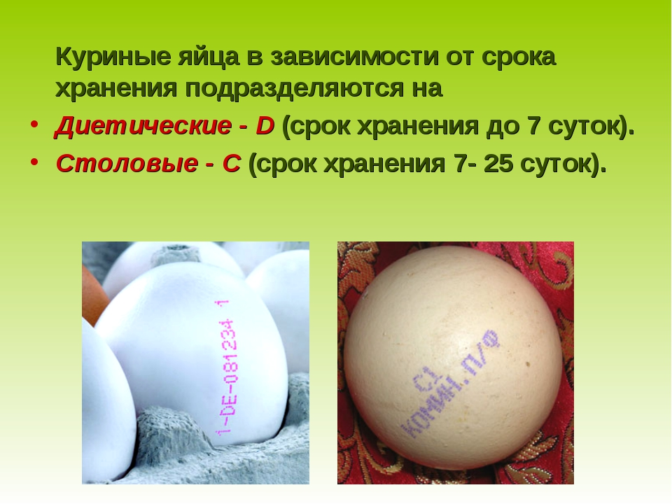 Куриные яйца в зависимости от срока хранения подразделяются на Диетические -...