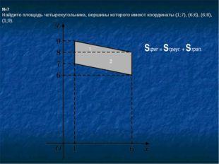№7 Найдите площадь четырехугольника, вершины которого имеют координаты (1;7),