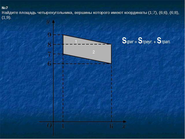 №7 Найдите площадь четырехугольника, вершины которого имеют координаты (1;7),...