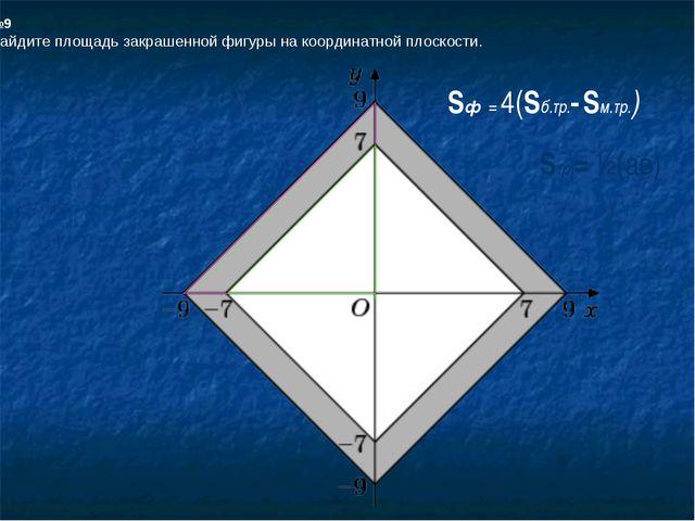 №9 Найдите площадь закрашенной фигуры на координатной плоскости. Sф = 4(Sб.тр...