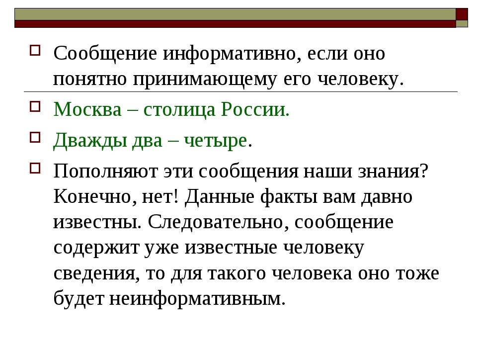 Сообщение информативно, если оно понятно принимающему его человеку. Москва –...