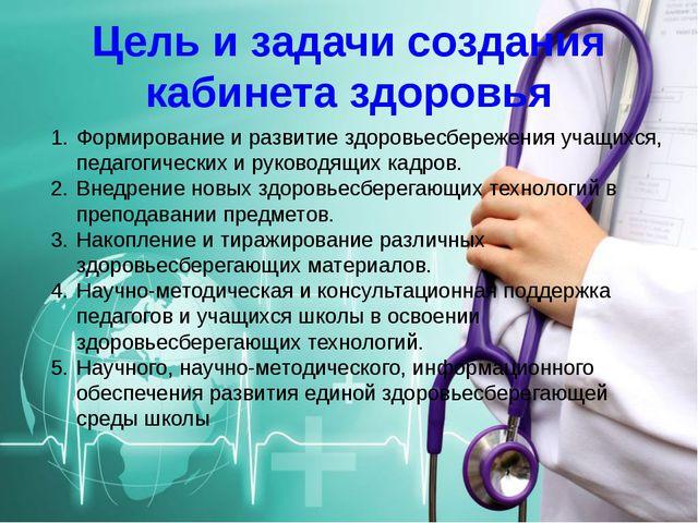 Цель и задачи создания кабинета здоровья Формирование и развитие здоровьесбер...