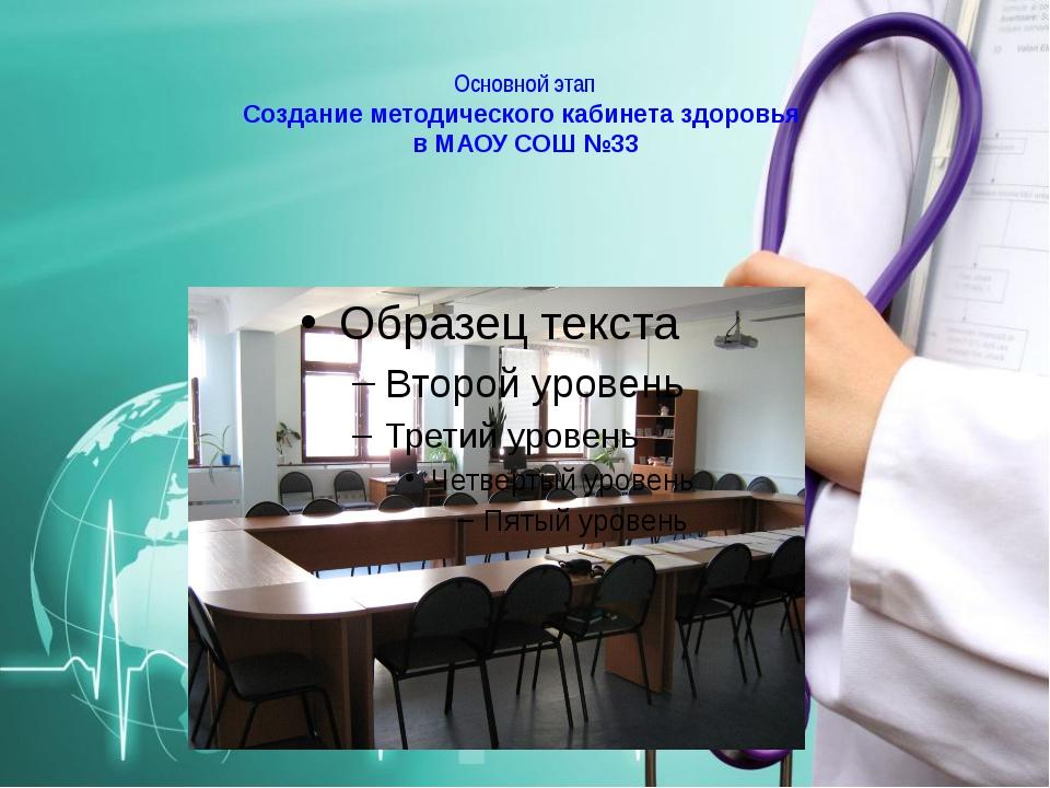 Основной этап Создание методического кабинета здоровья в МАОУ СОШ №33