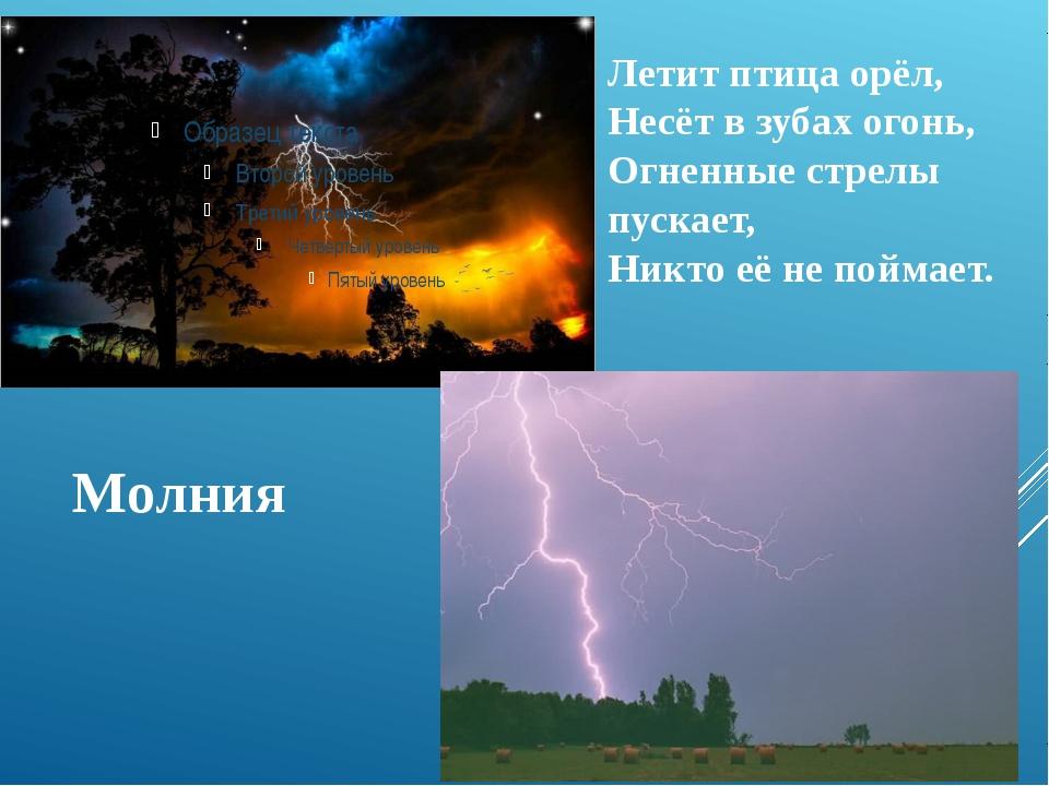 Молния Летит птица орёл, Несёт в зубах огонь, Огненные стрелы пускает, Никто...